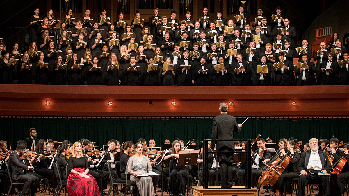 UNT Grand chorus performing with UNT orchestra